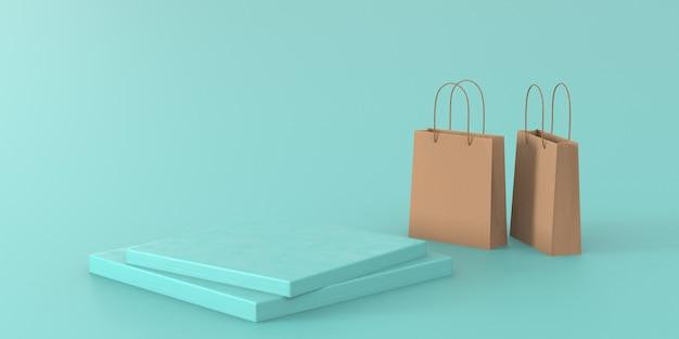 3d renderingu zielony pastelowy podium dla produktu