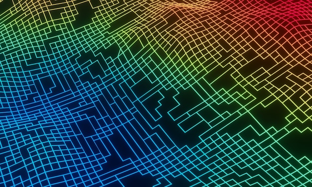 3d renderowana abstrakcyjna topografia siatki. gradientowy teren siatki.