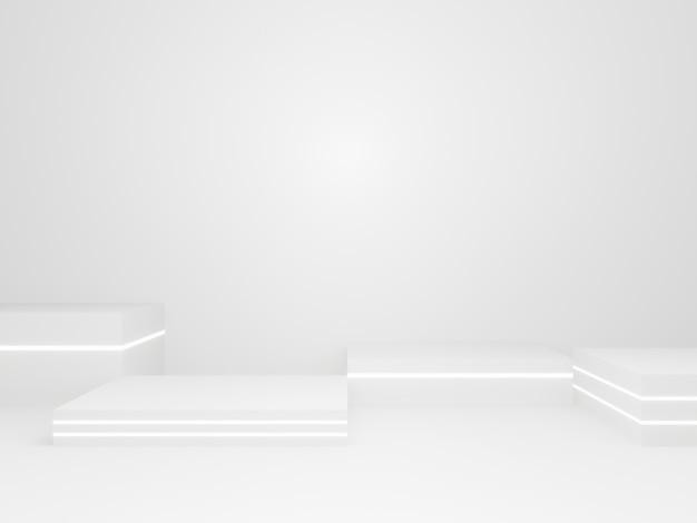 3d renderowana biała scena geometryczna