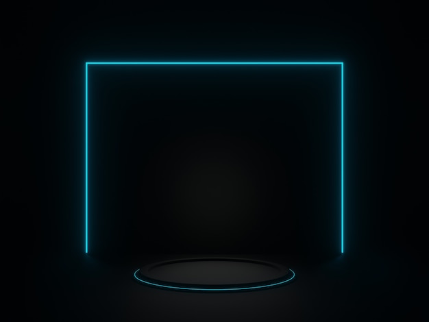 3d renderowana czarna geometryczna scena z białym światłem neonowym