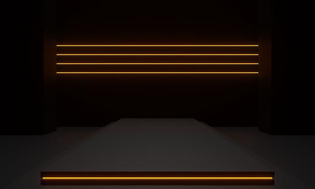 3d renderowana czarna geometryczna scena ze złotymi neonami