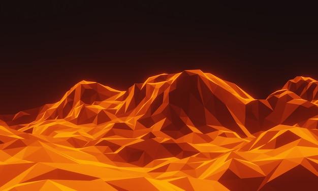 3d renderowana góra topograficzna niskiej wielokąta.