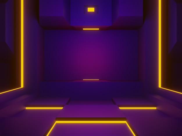 3d renderowana scena w fioletowym pokoju kosmicznym futurystyczne tło.