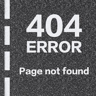 3d renderowana strona błędu 404 nie została znaleziona na drodze asfaltowej