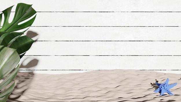 3d renderowana tapeta z roślinami na pierwszym planie z powierzchnią pomalowanej na biało drewnianej podłogi i piasku na plaży