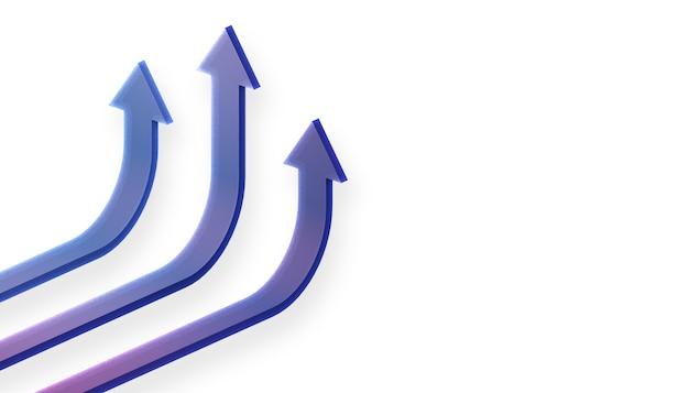 3d renderowane biznes strzałka w górę koncepcji kierunku do celu sukcesu. wzrastająca wizja wzrostu finansów.