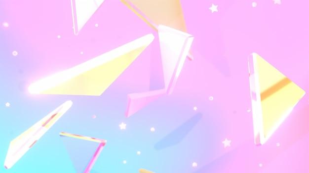 3d renderowane błyszczące trójkąty i gwiazdy