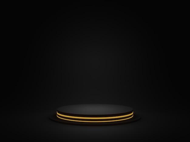 3d renderowane czarne geometryczne podium ze złotym neonem