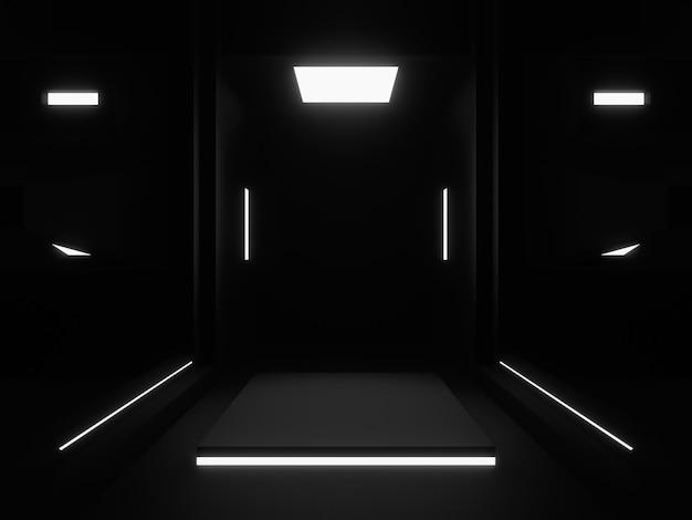 3d renderowane czarne podium na scenie.