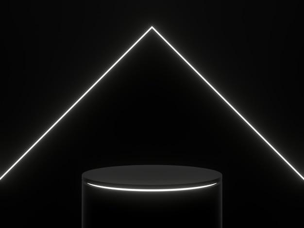 3d renderowane czarne podium z białymi światłami. stojak na produkt.
