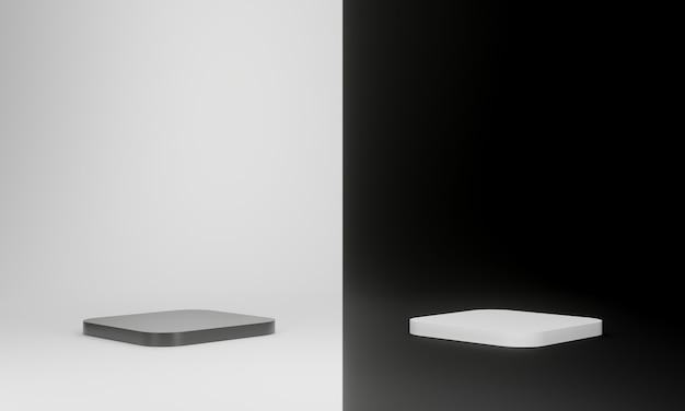 3d renderowane czarno-białe geometryczne podium