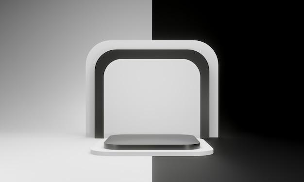 3d renderowane czarno-białe geometryczne sceny