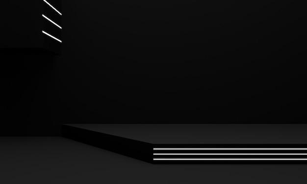 3d renderowane czarno-białe geometryczne stoisko.