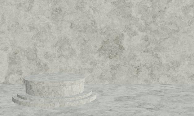 3d Renderowane Czarno-białe Podium Cementu Premium Zdjęcia