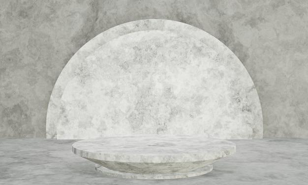 3d renderowane czarno-białe podium cementu