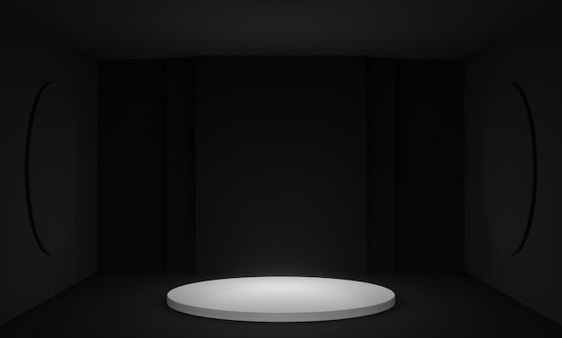 3d renderowane czarno-białe podium