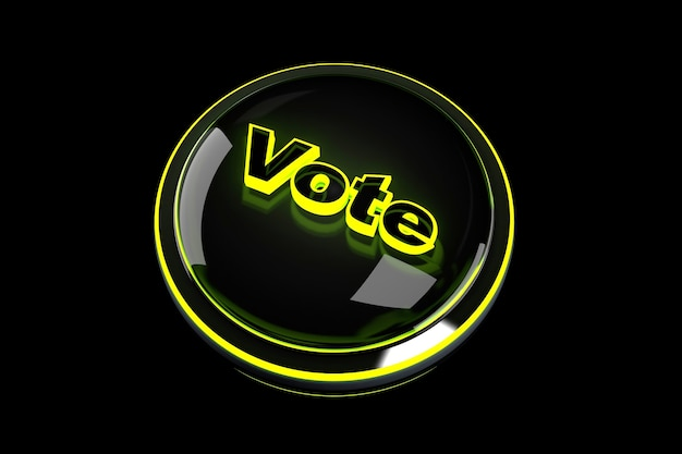 3d renderowane ilustracja przycisku głosuj.