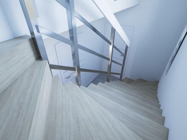 3d renderowane korytarz ze schodami