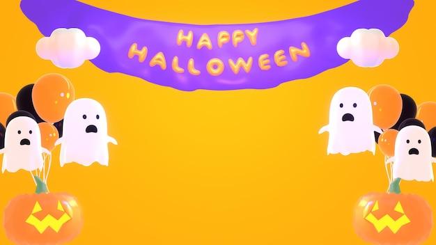 3d renderowane kreskówki słodkie duch halloween balony impreza z miejsca na kopię