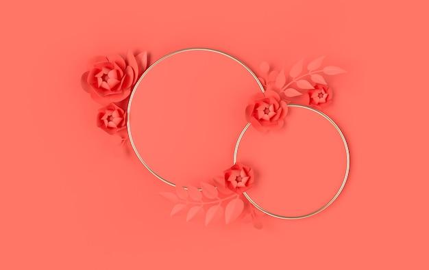3d renderowane kształty geometryczne, podium z kwiatami i liśćmi w stylu papierowej sztuki