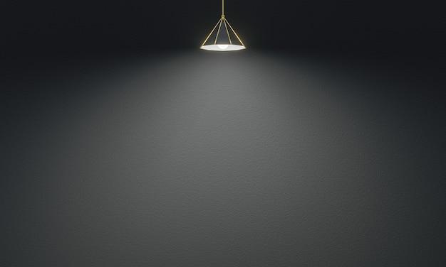 3d renderowane lampy sufitowe w tle ściany cementu