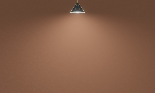 3d renderowane lampy sufitowe z brązowym tle ściany cementu