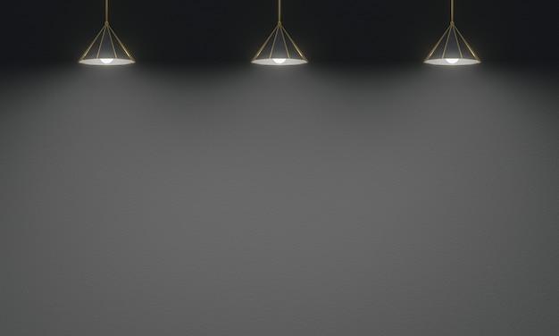 3d renderowane lampy sufitowe z czarnym tle ściany cementu