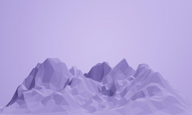 3d renderowane low poly fioletowa góra.