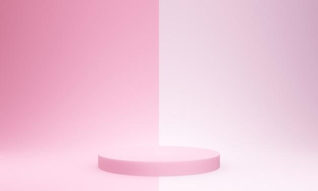 3d renderowane makieta różowego podium