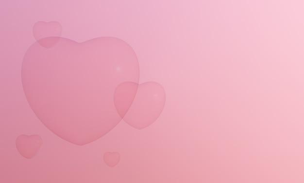3d renderowane pęcherzyki różowe serce. urocza walentynka.
