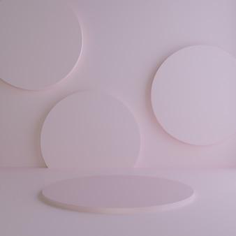 3d renderowane studio i podium z geometrycznymi kształtami, podium na podłodze. platformy do prezentacji produktów