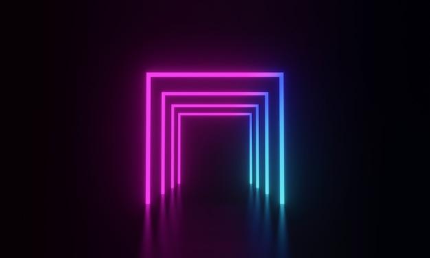 3d renderowane świecące światło neonowe