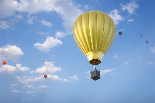 3d renderowania balonów na ogrzane powietrze latają na niebieskim niebie