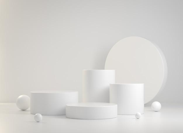 3d renderowania białe podium kolekcja streszczenie tło ilustracja