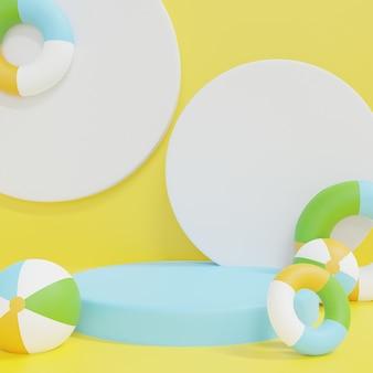 3d renderowania białego poidum z pastelowymi dmuchańcami na żółtym tle