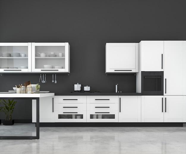 3d renderowania biały minimalny makieta kuchnia loft z drewna dekoracji