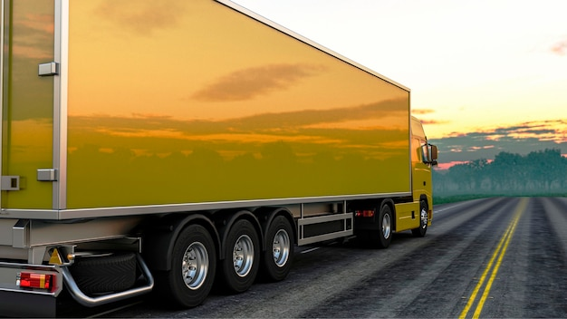 3d renderowania ciężarówka na drodze