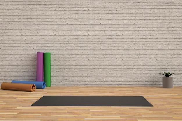 3d renderowania czarna mata do jogi na podłodze