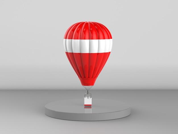 3d renderowania czerwony balon na gorące powietrze na szarym tle