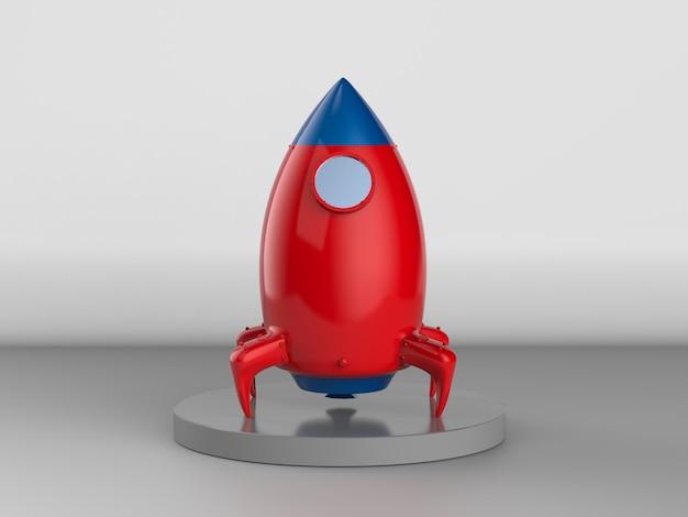 3d renderowania czerwony prom kosmiczny na pad