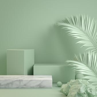 3d renderowania formularza zielona mennica krok podium dziki koncepcja