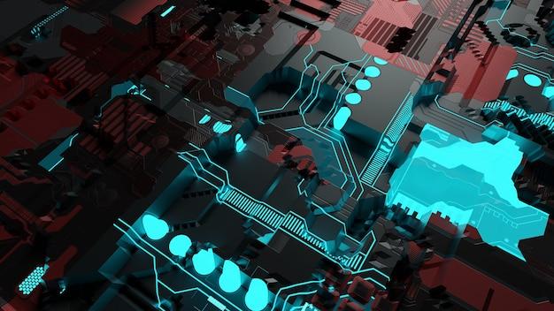 3d renderowania future blue circuit board z koncepcją głównego procesora. ilustracja elektryczności, futurystyczna