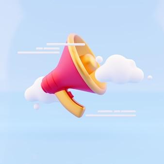 3d renderowania głośnik, megafon, chmura bańki. serwis dla koncepcji reklamy influencer.