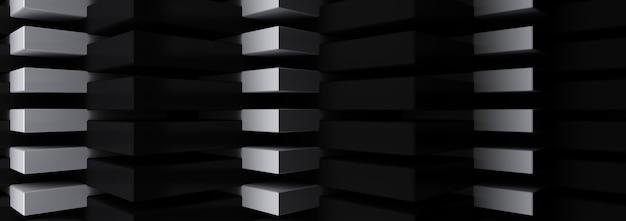 3d renderowania grupy trójkąta, czarno-białe tło.