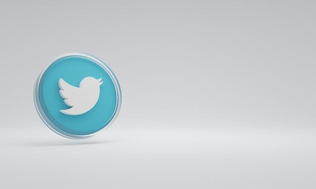 3d renderowania ikona ilustracja logo szkło twitter