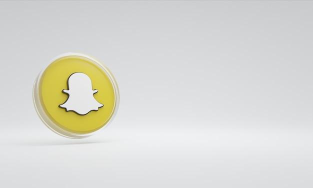 3d renderowania ilustracja ikona logo szkło snapchat