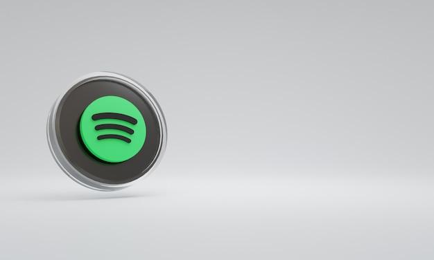 3d renderowania ilustracja ikona logo szkło spotify