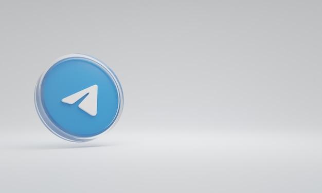 3d renderowania ilustracja ikona logo szkło telegram