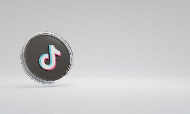 3d renderowania ilustracja ikona logo szkło tiktok
