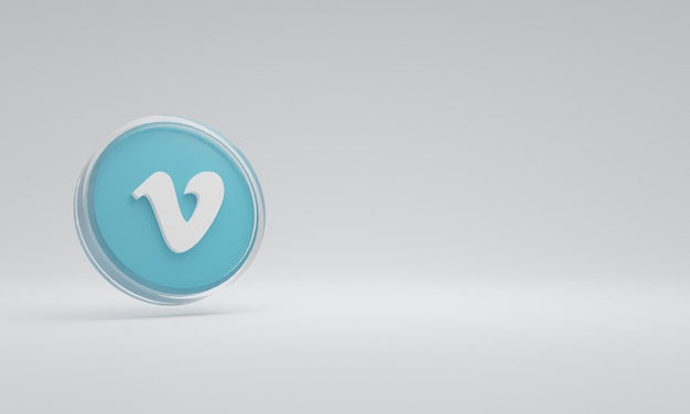 3d renderowania ilustracja ikona logo szkło vimeo